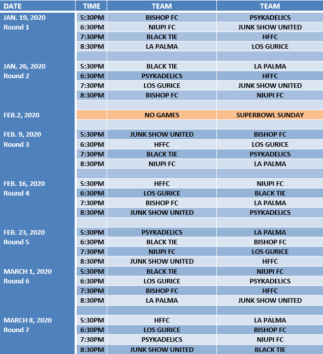 2020 Indoor Soccer Schedule - Web Image